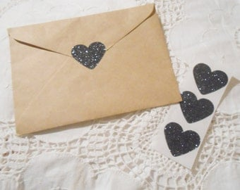 Large Sparkly Black Glitter Heart Wedding Event Envelope Seals - Sweet Love stickers x 25