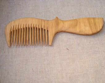 Wooden comb. Wooden oak comb