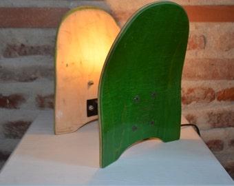 Lamp in recycled skateboard