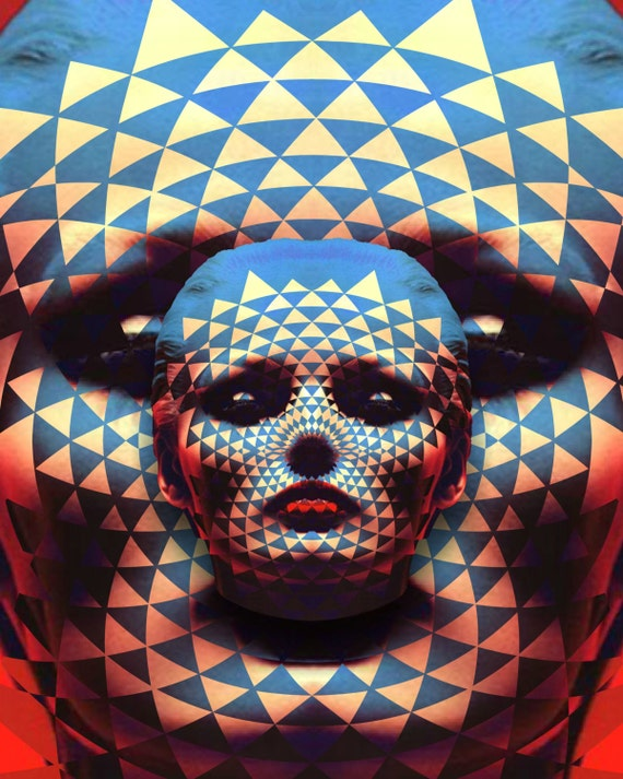TEA012: Groovy Face - Surreal, Metaphysical, Collage Art, Model, Red and Blue, Primary Colors, Sacred Geometry, Pineal Gland