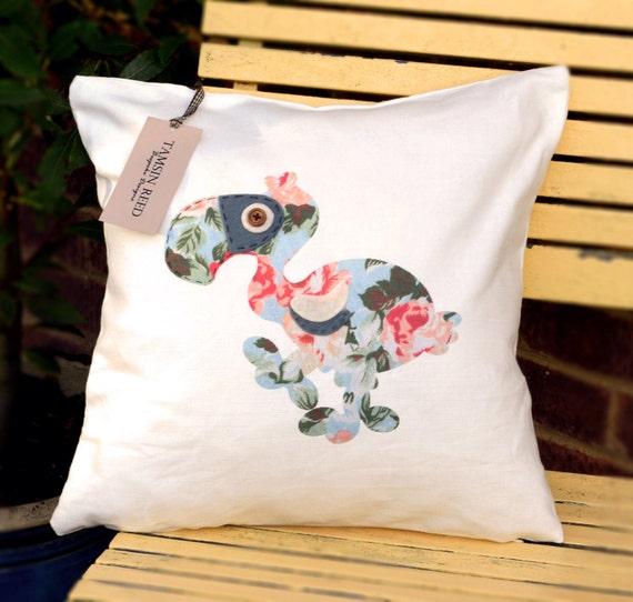 "HALF PRICE! Dodo Cushion - Floral, pink polka, green polka, blue collage, ""The Last of the Dodos"" Collection, Tamsin Reed Designs"