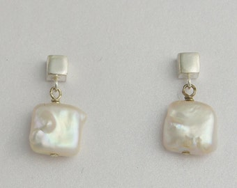Pearl Post Earrings - Square