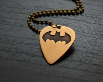 Batman Guitar Pick Necklace - Bronze