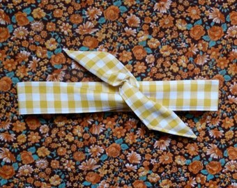 Long rigid headband - white and yellow gingham - handmade - retro spirit - headband hair - headband