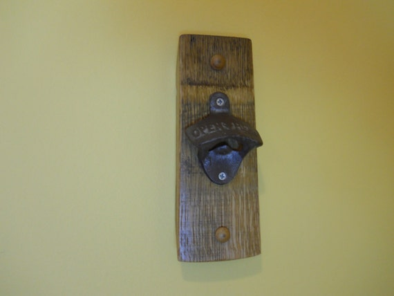 Wine Barrel Stave Bottle Opener Wall Mount By