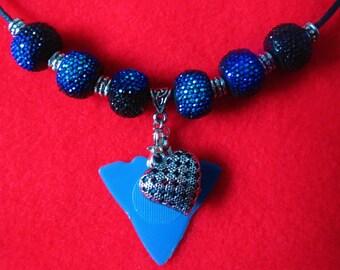 Jazzy Jam Pick - Dulcimer Player's Pick Necklace w/ Puffed Heart Charm