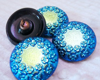 Modern Czech art glass buttons, blue lustered black glass floral FREE SHIPPING