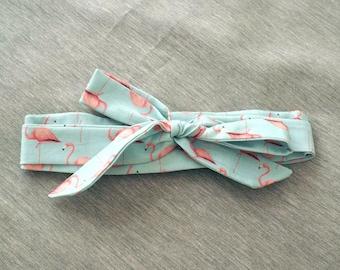 Mint Pink Flamingoes Ribbon Top Knot Headband / Cotton Headscarf / Bow Headband