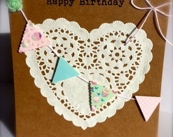 Handmade Vintage Inspired Birthday Card, Doily Birthday Card, Bunting Birthday Card, Mothers Day Card, Personalised Birthday Card