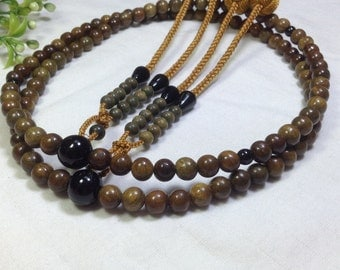 Juzu japanese malas,green sandalwood carved,carnelian stone parent beads,with yellow handmade balls
