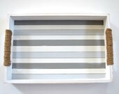 White & Grey Striped Rectangle Serving Tray, Shabby Chic Beach Home Décor