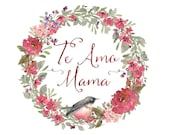 Te Amo Mama - printable art, spanish quote, I love you mommy in Spanish, home decor, love art quote, mother's day, dia de las madres