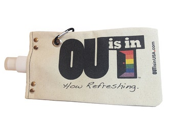 "OUT is in USA canvas Water or Wine Tote, any Beverage holder,flask,water""bottle"", pride water tote"