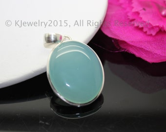 Chalcedony Pendant, Sterling Silver Pendant, Gemstone Pendant