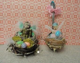 Pixie Fairy Spoon  Nest~ Altered Spoon ~ Wall Decor~~ 2 Styles
