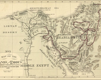 24x36 Poster; Bible Map Of The Exodus From Egypt 1881