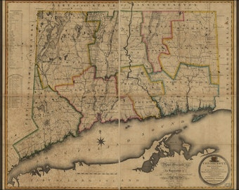 24x36 Poster; Map Of Connecticut 1813