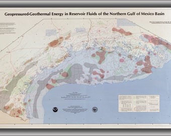 24x36 Poster; Map Of Geothermal Energy N Gulf Of Mexico 1979
