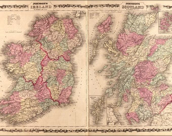 24x36 Poster; Map Of Ireland And Scotland 1862