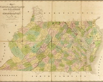 24x36 Poster; 1839 Map Of Maryland And Virginia