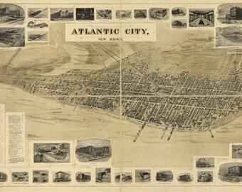 24x36 Poster; Birdseye View Map Of Atlantic City, New Jersey 1900