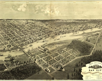 24x36 Poster; Birdseye View Map Of Bay City Michigan 1867