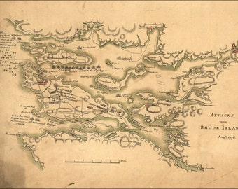 24x36 Poster; Map Of Attacks Upon Rhode Island, Augt. 1778