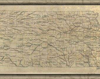 24x36 Poster; Map Of Kansas 1893