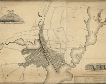 24x36 Poster; Map Of The Town Of Providence Rhode Island 1823