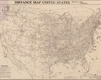 24x36 Poster; Railroad & Air Map United States Of America 1919