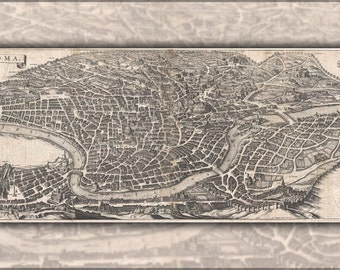 24x36 Poster; 1652 Merian Panoramic View Or Map Of Rome, Italy