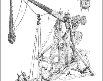 24x36 Poster; Medieval Trebuchet Counterweight Trebuchet 19Th Century French Three-Quarter Drawing Of A Medieval Counterweight Trebuchet