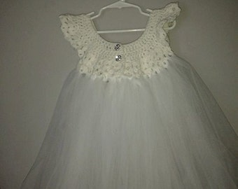 4T Crochet and Tulle Gown