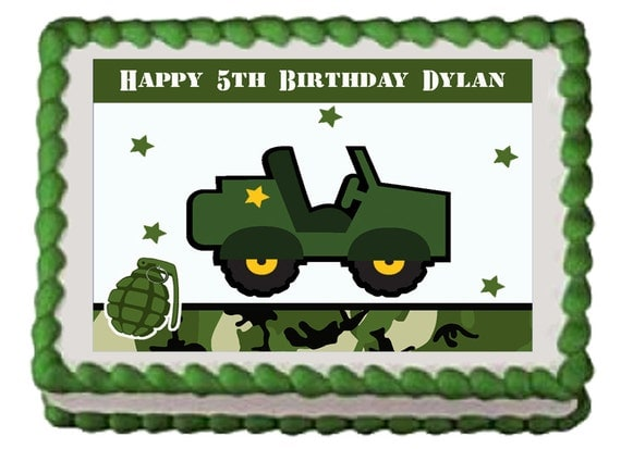 ARMY TRUCK Jeep Military Edible Boys Birthday Cake Or cupcake Toppers ...