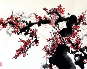 Chinese watercolor painting - plum blossoms