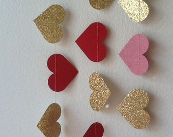 Red and Gold Lux Heart Paper Garland