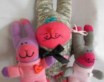 Sock Creature Bunny Family