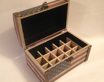 Americana Wood Box with Flag holds 15 (15ml) Essential Oil Bottles!