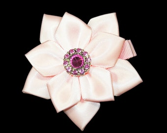 Pink Flower Hair Bow, Satin Ribbon Hair Bow, Ribbon Flower Hair Bow, Satin Flower Hair Bow, Flower Hair Clip, Satin Flower Hair Clip
