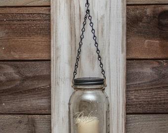 Mason Jar Wood Wall Sconce Distressed White Wash/Rustic Mason Jar Candle Sconce/Mason Jar Sconce