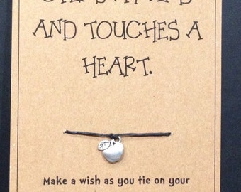 Teachers Appreciation Wish Bracelet: Touches a Heart