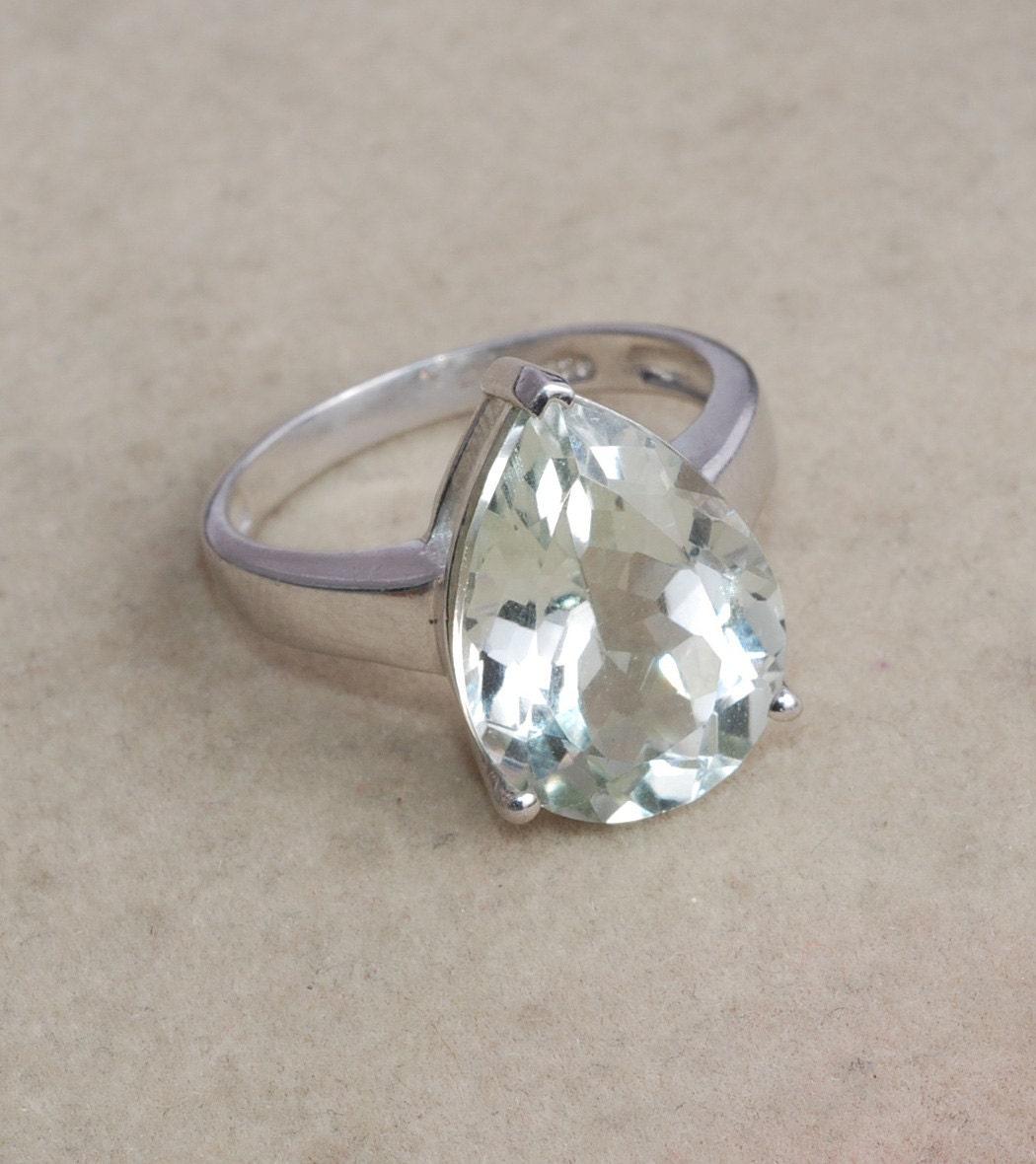 green amethyst 925 sterling silver ring by silverjewelry2015