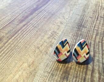 Printed Timber Geometric Tear Drop Studs/Earrings. Geo love. Geo studs. Geo Earrings. Surgical Steel. Handmade in Canberra, Australia.