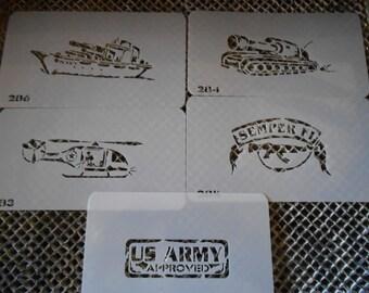 Military Tank Battleship Helicopter Stencil Set 56!