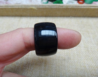 Free shipping natural obsidian ring couple ring (U.S. ring size: 8.5-9)
