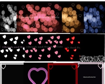 Heart and bokeh Overlays and Digital Backgrounds, plus kissing brush...Hearts, Frames, Bokeh/Valentines Day