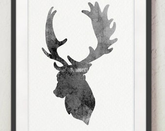 Deer Picture, Gray Deer Illustration, Antlers Wall Decor Art Print