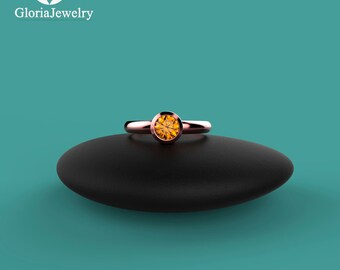 Rose Gold Yellow Tanzanite Bezel Ring B1