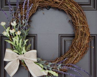All Season grapevine wreath with burlap and linen bow and lavender, cream, and green accents; Spring wreath; monogram wreath