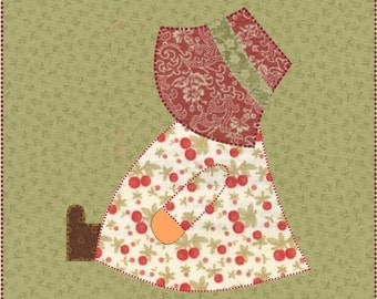 PDF Download - Instant Download - Sunbonnet Sue Pattern - Block Pattern - Quilt Pattern - Quilt Block - Block Pattern - Girl Sitting Block